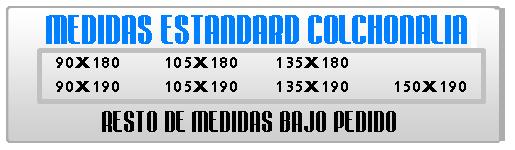 medidas standard - COLCHONALIA